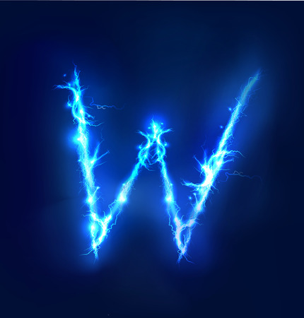 Alphabet made of blue electric lighting thunder storm effect. ABC Stock Photo