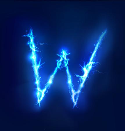 thunder: Alphabet made of blue electric lighting thunder storm effect. ABC Stock Photo