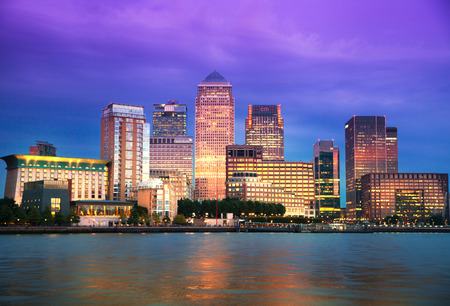Canary Wharf business and banking district night lights Stock Photo