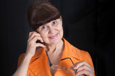 good looking woman: Mature good looking woman with glasses. Portrait Stock Photo