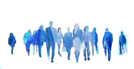 personas caminando: La gente de negocios en movimiento borroso. La gente que camina en la hora punta. Negocios y moderno concepto de la vida
