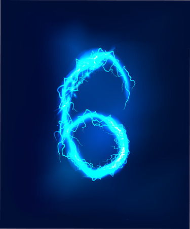 electric storm: Numbers made of blue electric lighting thunder storm effect. ABC Stock Photo