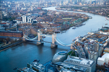 City of London panorama in sunset. Tower bridge and River Thames photo
