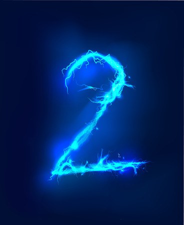 thunder storm: Numbers made of blue electric lighting thunder storm effect. ABC Stock Photo