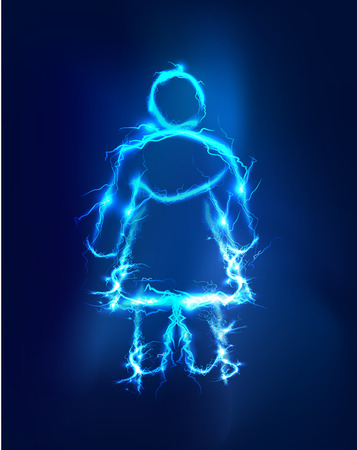 lighting effect: Woman  Abstract background made of Electric lighting effect