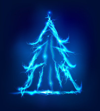 lighting effect: Christmas tree Abstract background made of Electric lighting effect Stock Photo