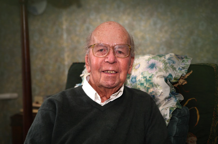 old english: Portrait of 93 years old English man in domestic environment