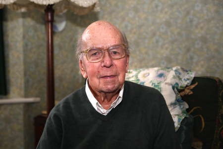 british man: Portrait of 93 years old English man in domestic environment