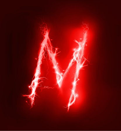 electric storm: Alphabet made of red electric lighting thunder storm effect. ABC