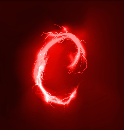 thunder storm: Alphabet made of red electric lighting thunder storm effect. ABC