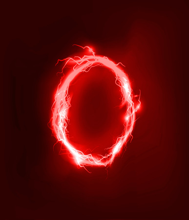 light abc: Alphabet made of red electric lighting thunder storm effect. ABC