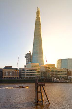 shard: LONDON UK  APRIL15 2015: Shard of glass. City of London south bank of river Thames