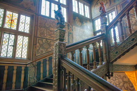 manor house: SUSSEX UK  APRIL 11 2015: Sevenoaks  Old english mansion interior. Painted stairs