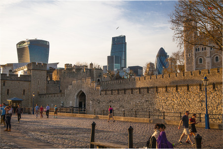 traitor: LONDON UK  APRIL15 2015: Tower of London at sunset lights