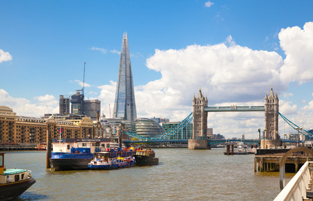 LONDON UK  APRIL 30 2015: City of London business aria view from the Tower Bridge. Shard and London hall buildings