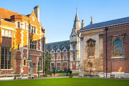 cambridge: CAMBRIDGE UK  JANUARY 18 2015: Pembroke college university of Cambridge. The inner courtyard with church