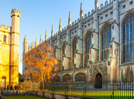 university fountain: CAMBRIDGE UK  JANUARY 18 2015: Kings college started in 1446 by Henry VI. Historical buildings