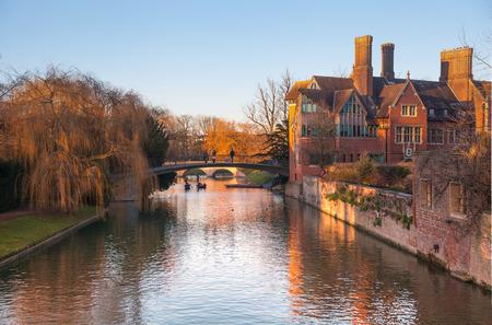 great hall: CAMBRIDGE UK  JANUARY 18 2015: River Cam at sunset