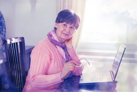 damas antiguas: Elderly good looking woman working on laptop. Portrait in domestic interior