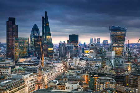 night skyline: LONDON, UK - JANUARY 27, 2015: panoramic view City of London Editorial