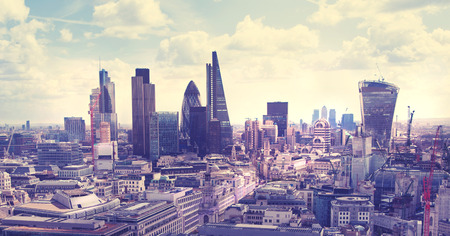 centres: LONDON, UK - AUGUST 9, 2014 London view. City of London one of the leading centres of global finance this view