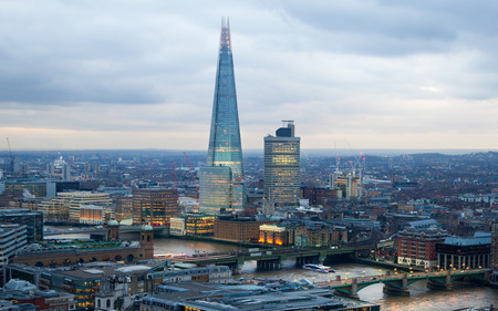 shard of glass: LONDON, UK - JANUARY 27, 2015: Shard of Glass, panoramic view City of London