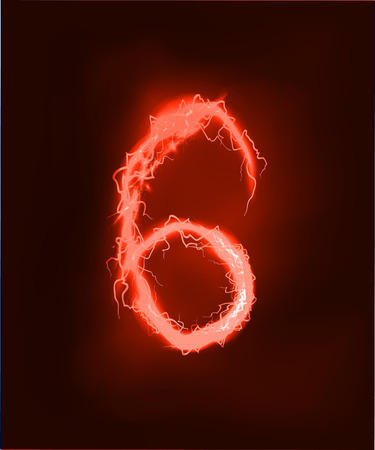 light abc: Numbers made of red electric lighting, thunder storm effect. ABC Stock Photo