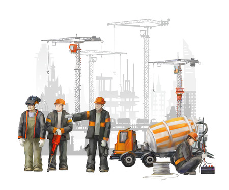manufacture: Builders on the building site. Industrial illustration with workers, cranes and concrete mixer machine