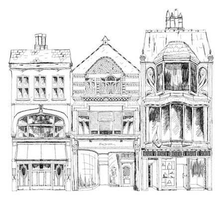 sketch drawing: Old English town houses with small shops or business on ground floor. Bond street, London. Sketch collection