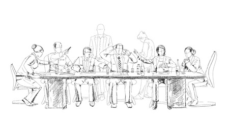 sketch drawing: Silhouettes of successful business people working on meeting. Sketch
