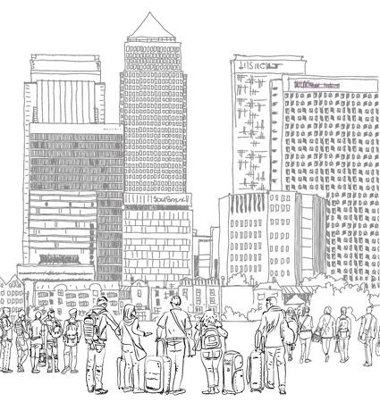 canary wharf: Canary Wharf  business aria and tourists, London