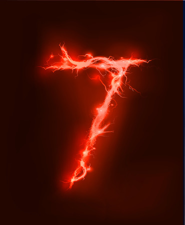 write abc: Numbers made of red electric lighting, thunder storm effect. ABC Stock Photo