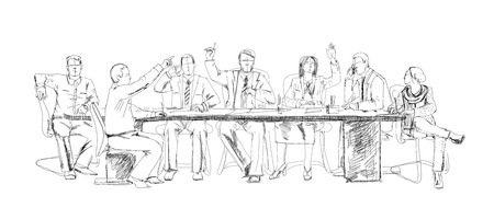 writing chair: Silhouettes of successful business people working on meeting. Sketch