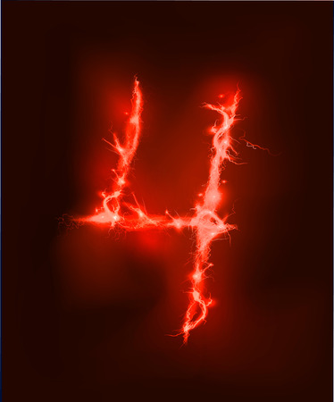 abc: Numbers made of red electric lighting, thunder storm effect. ABC Stock Photo