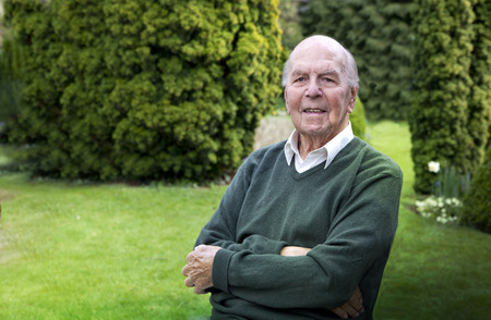 95: Portrait of 95 years old english man in his garden