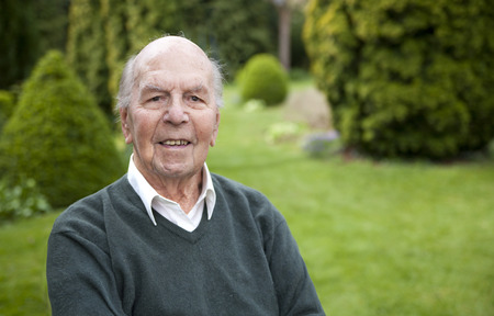 retirement homes: Portrait of 95 years old english man in his garden