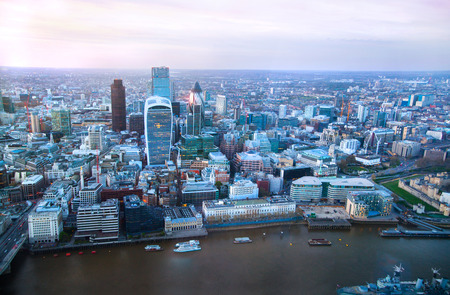 london skyline: LONDON, UK - APRIL 15, 2015: City of London panorama in sunset and first night lights. Editorial
