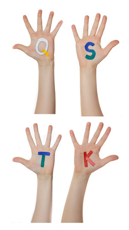 kids hand: Alphabet letters painted on children hands.  Rises up hands.