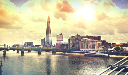 office building: Shard of glass. Panoramic view south bank river Thames Editorial
