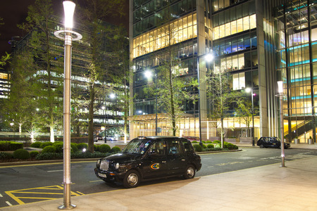 british touring car: LONDON, CANARY WHARF UK - APRIL 4, 2014: Canary Wharf at night