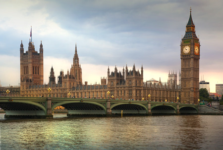 great britain: LONDON, UK - July 21, 2014: Big Ben and houses of Parliament. Thames embankment