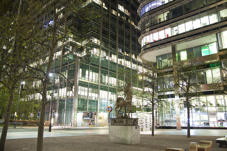 british touring car: LONDON, CANARY WHARF UK - APRIL 4, 2014: Canary Wharf at the night Editorial