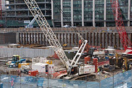 uk: LONDON, UK - SEPTEMBER 17, 2015: Crane and building construction site, Holborn aria Editorial