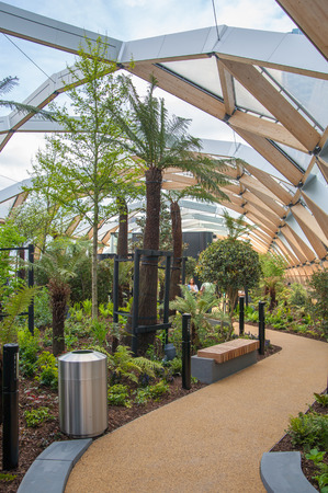 winter garden: LONDON, UK - MAY 5, 2015: Canary Wharf banking and business centre, winter garden Editorial