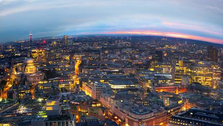 city night: London at sunset. City background. Night lights
