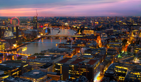 city landscape: London at sunset. City background. Night lights