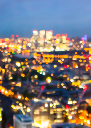 panoramic view: London, Night lights clur. City background