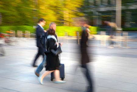 croud: LONDON, UK - MAY 21, 2015: Businessmen  walking on the Bank street.