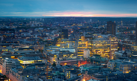 city of westminster: London at sunset. City background. Night lights Westminster side Stock Photo