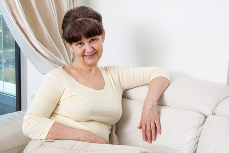 good looking woman: 65 years old good looking woman portrait in domestic environment